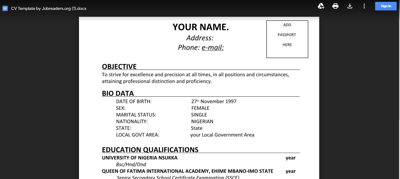Free Word Document CV template for applying for Jobs in Nigeria