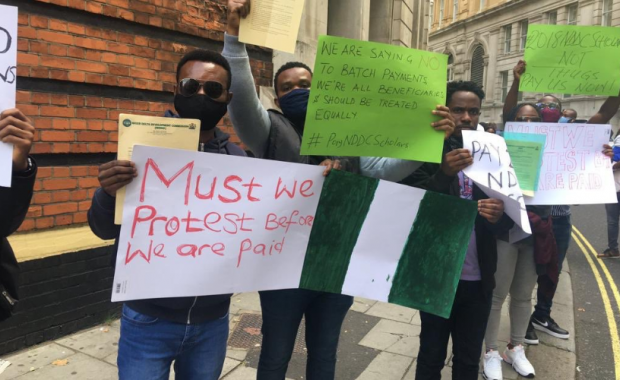 Scholarship Beneficiaries Protest at Nigerian High Commission in London