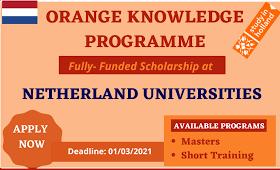 The Netherlands Orange Knowledge scholarship Program 2021|apply now